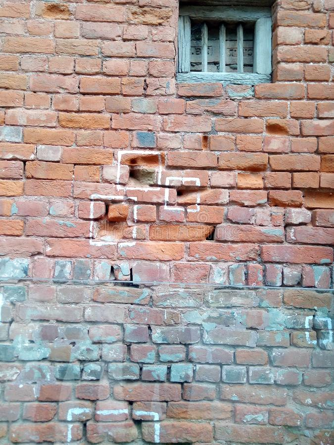 Jaliawala Bagh真正的子弹标记在墙壁上的 库存照片