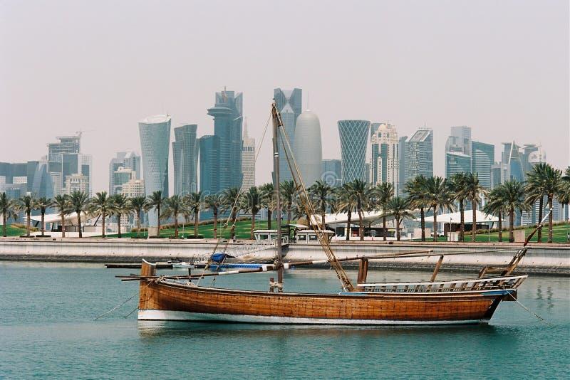 Jalibut dhow w Doha lagunie obraz stock