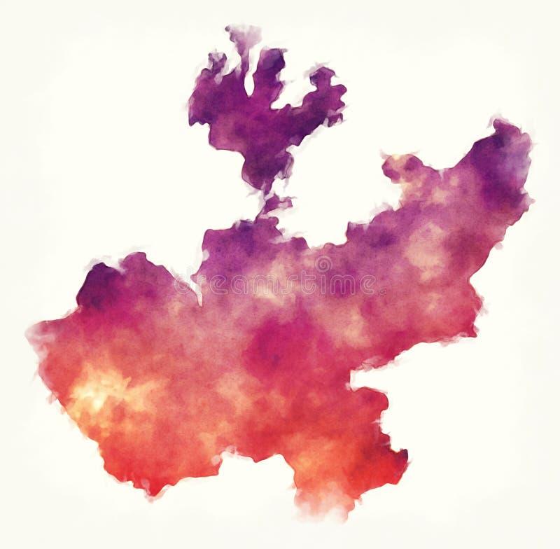Jalisco-Staatskarte von Mexiko vor einem weißen Hintergrund lizenzfreie abbildung