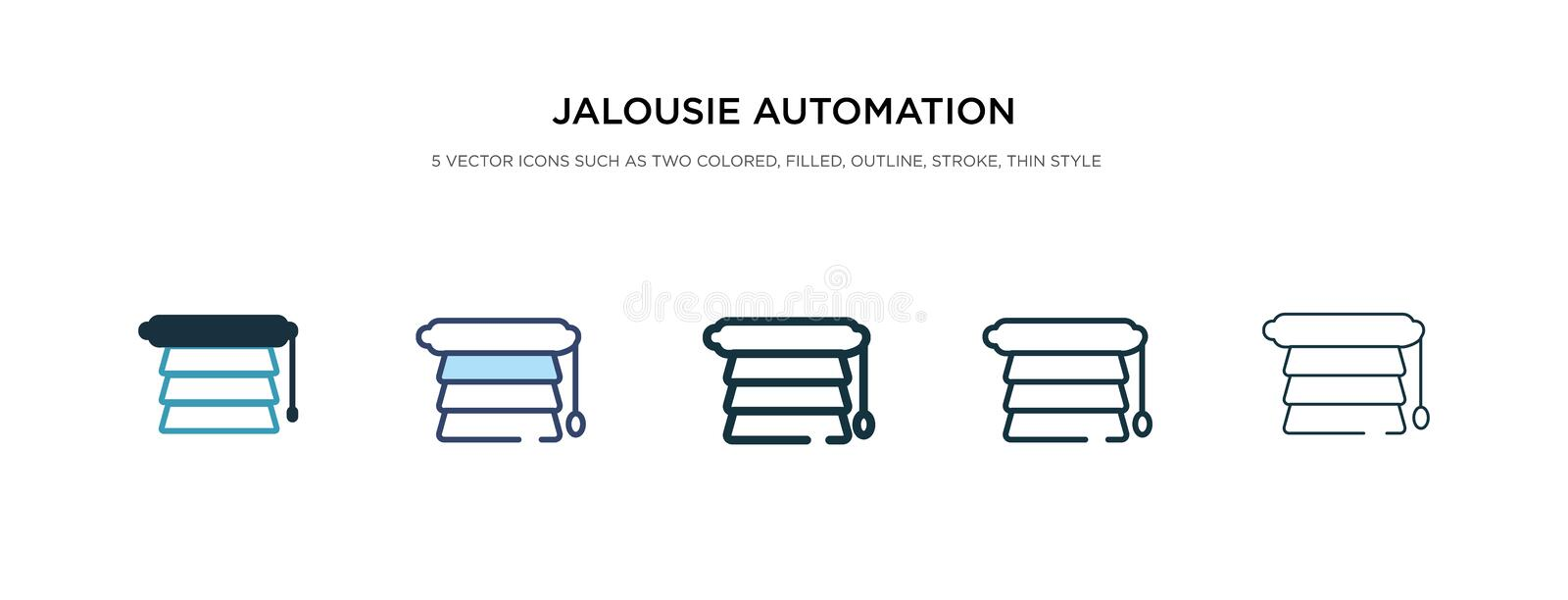Jalousie automation icon in different style vector illustration. two colored and black jalousie automation vector icons designed stock illustration