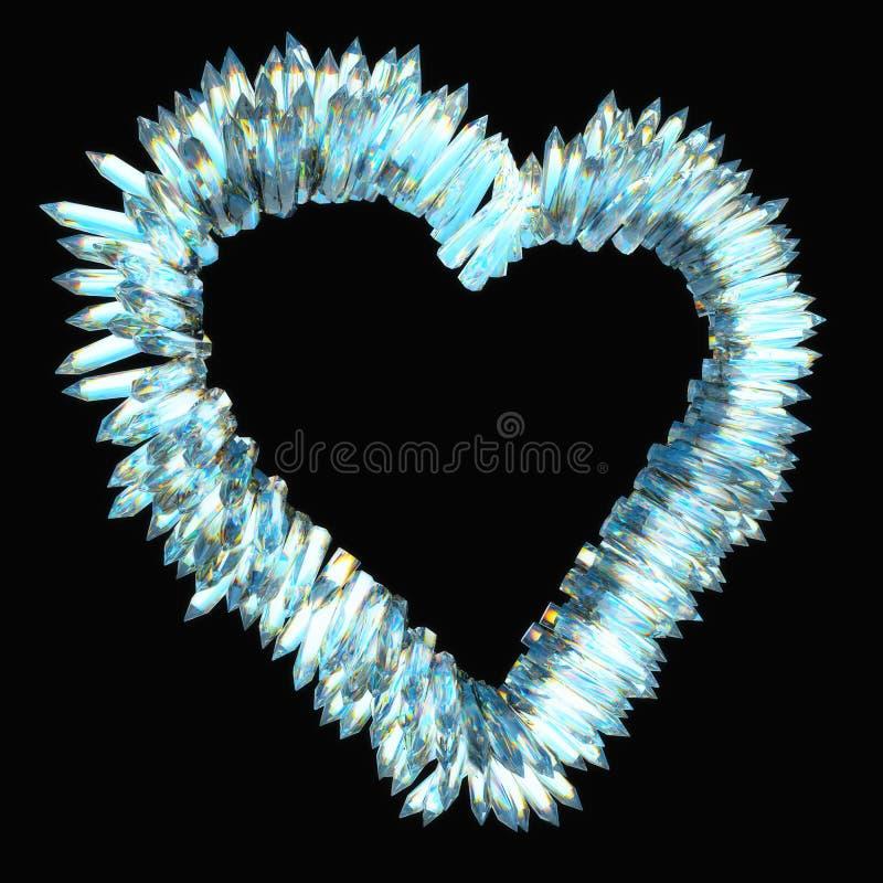 Jalousie et amour pointu : forme en cristal de coeur illustration de vecteur