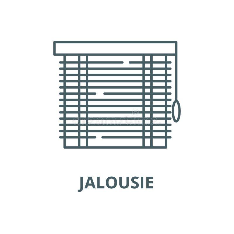 Jalousie wektoru linii ikona, liniowy poj?cie, konturu znak, symbol ilustracja wektor