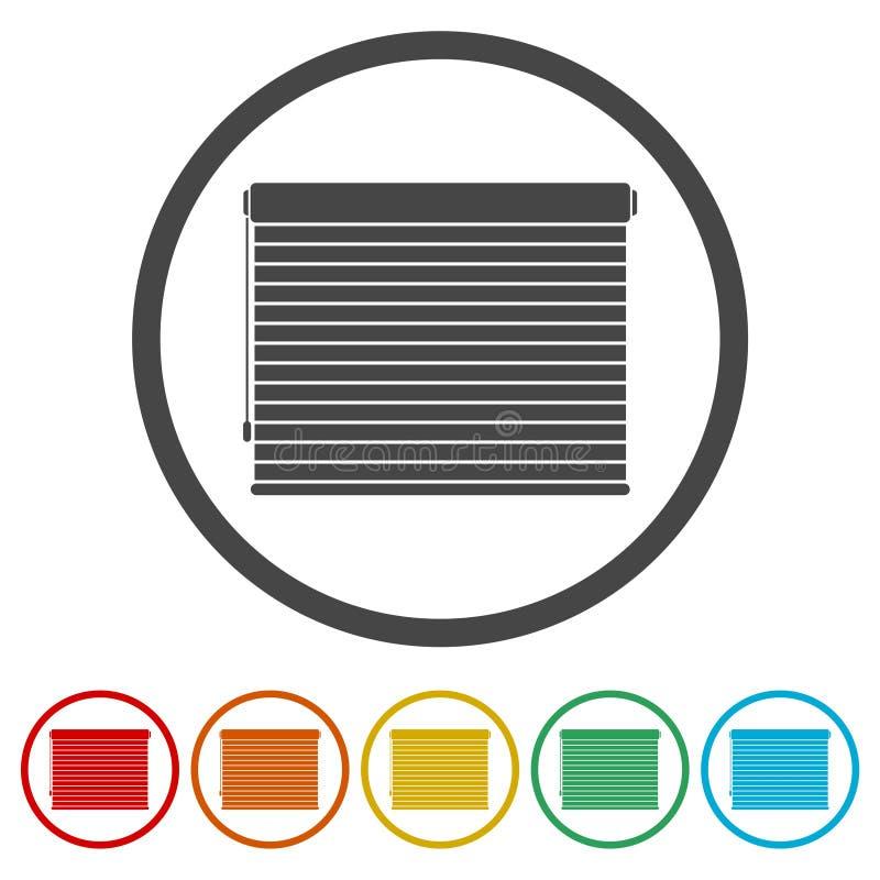Jalousien rollt Zeichenikone, 6 eingeschlossene Farben stock abbildung