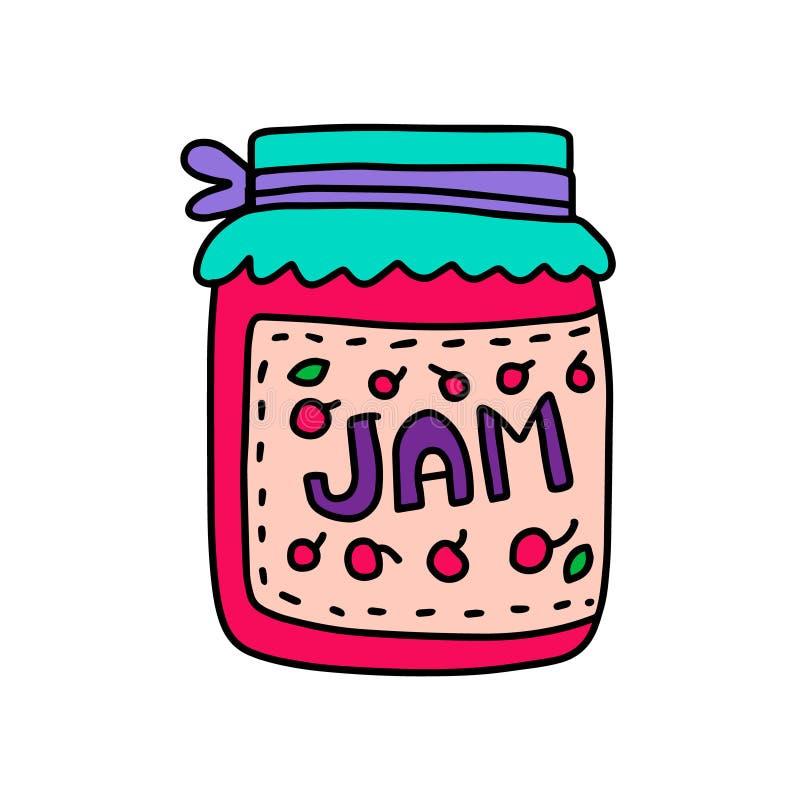 Jam cherry taste hand drawn vector illustration in cartoon comic style. Granny present vector illustration