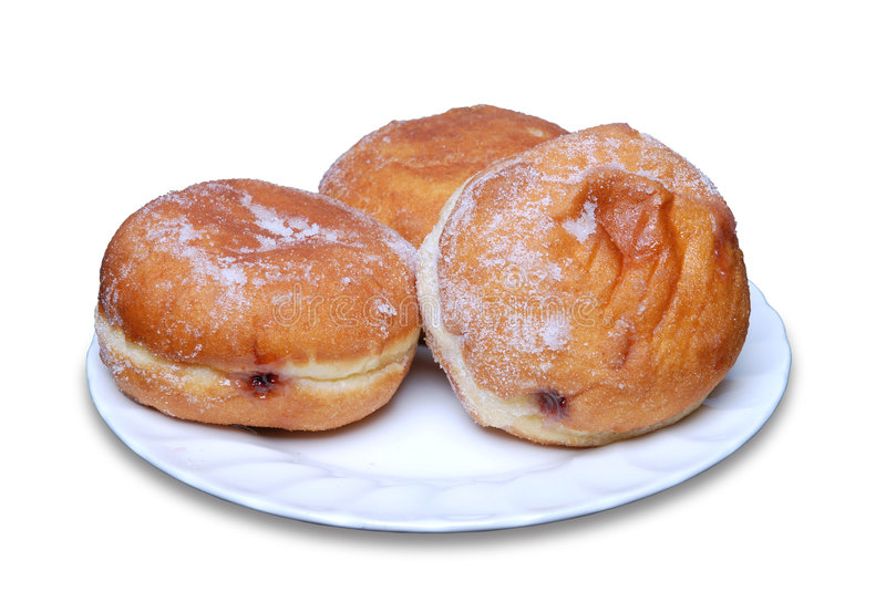 Jam doughnuts on a plate stock image