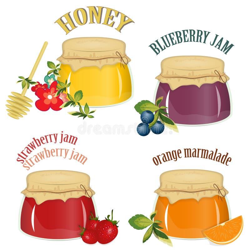 Jam en honing die op witte achtergrond wordt geïsoleerdb royalty-vrije illustratie