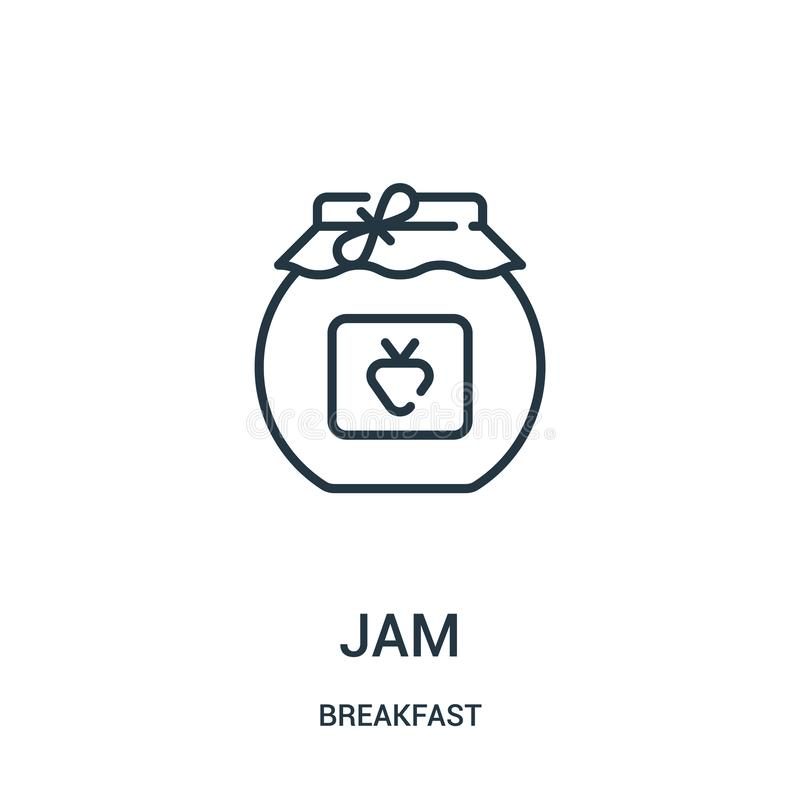 Jam icon vector from breakfast collection. Thin line jam outline icon vector illustration. Linear symbol for use on web and mobile. Apps, logo, print media royalty free illustration