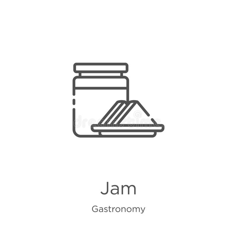 jam icon vector from gastronomy collection. Thin line jam outline icon vector illustration. Outline, thin line jam icon for vector illustration