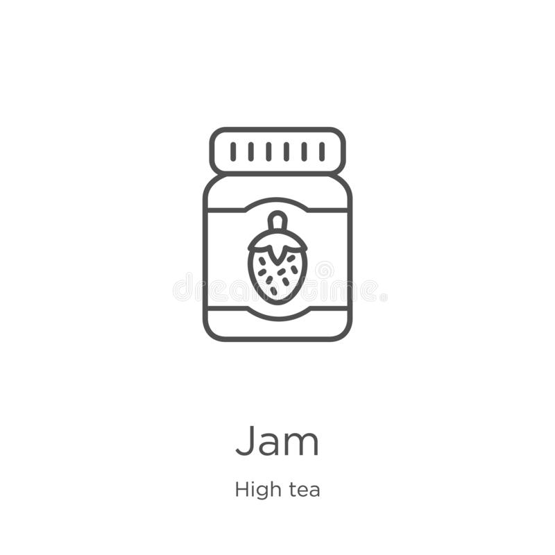 Jam icon vector from high tea collection. Thin line jam outline icon vector illustration. Outline, thin line jam icon for website. Jam icon. Element of high tea vector illustration