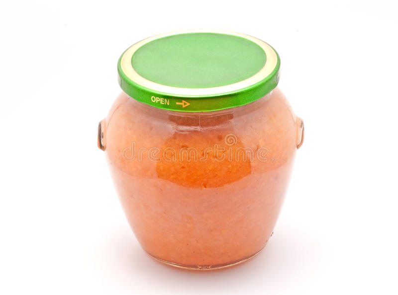 Jam Jar. Big jam jar made made from apricot royalty free stock photography