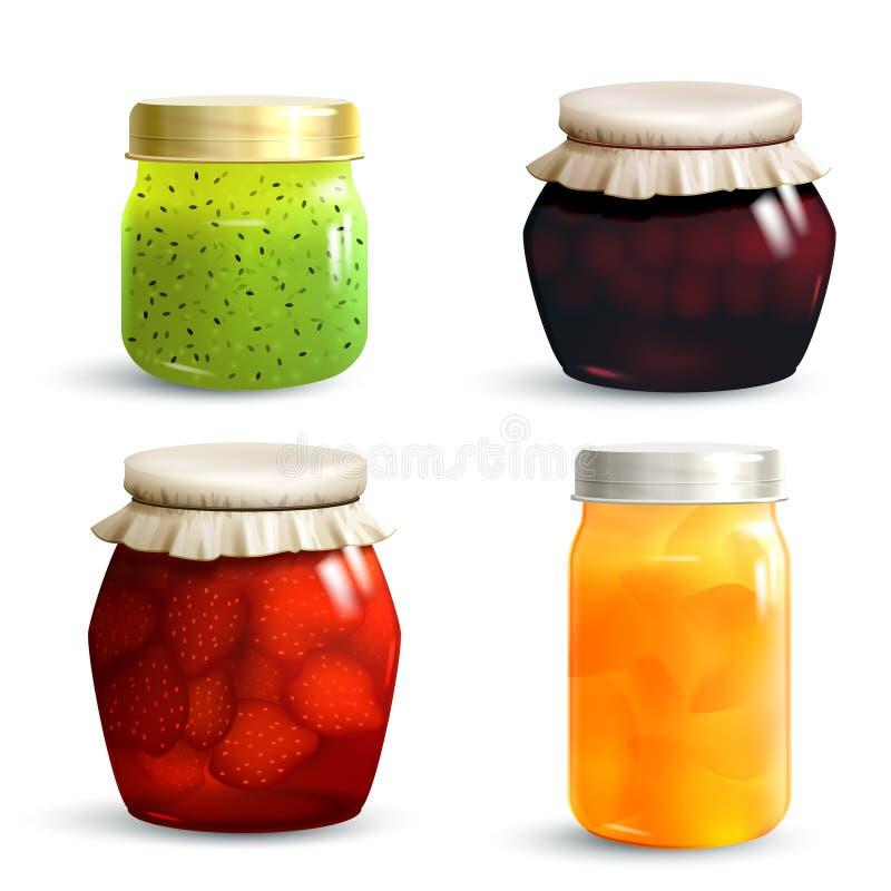 Jam Jar Set. Natural fruit jam preserves jar set with realistic kiwi cherry strawberry and peach marmalade isolated vector illustration stock illustration