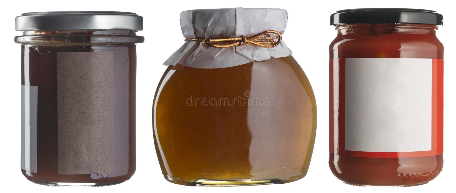 Jam jar set whith blank labels isolated on white. stock images