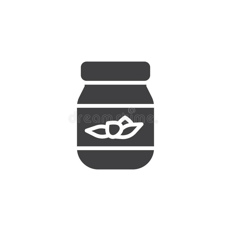 Jam jar vector icon. Filled flat sign for mobile concept and web design. Glass jar jam glyph icon. Symbol, logo illustration. Pixel perfect vector graphics royalty free illustration