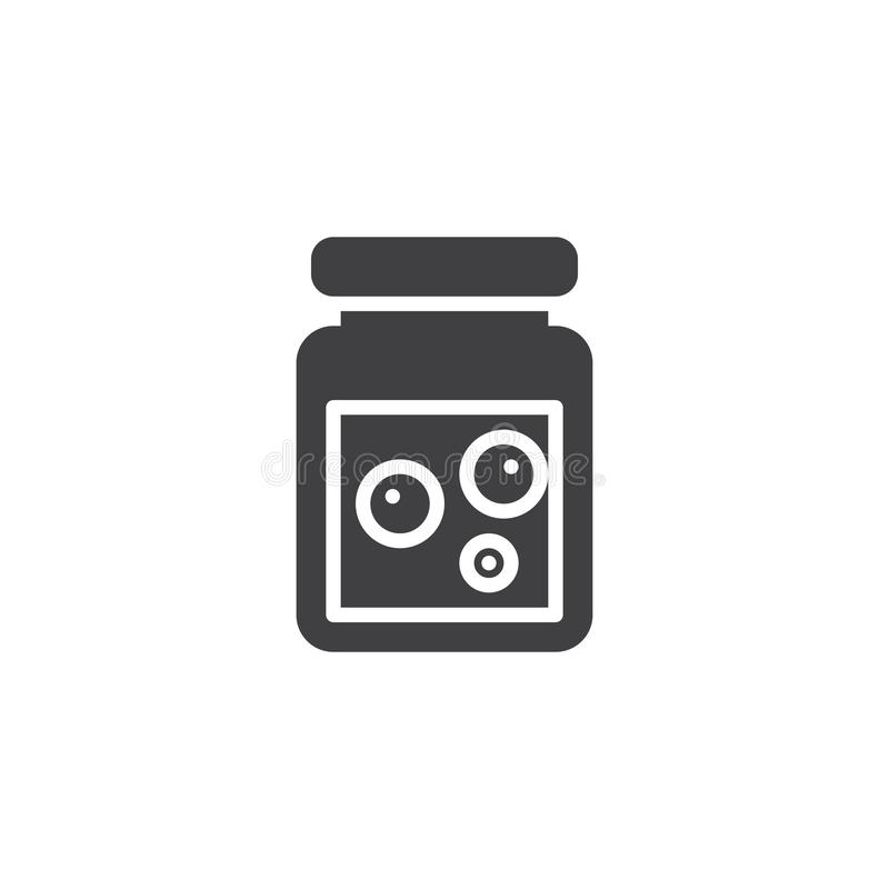 Jam jar vector icon. Filled flat sign for mobile concept and web design. Glass jar with berry jam simple solid icon. Symbol, logo illustration. Pixel perfect royalty free illustration