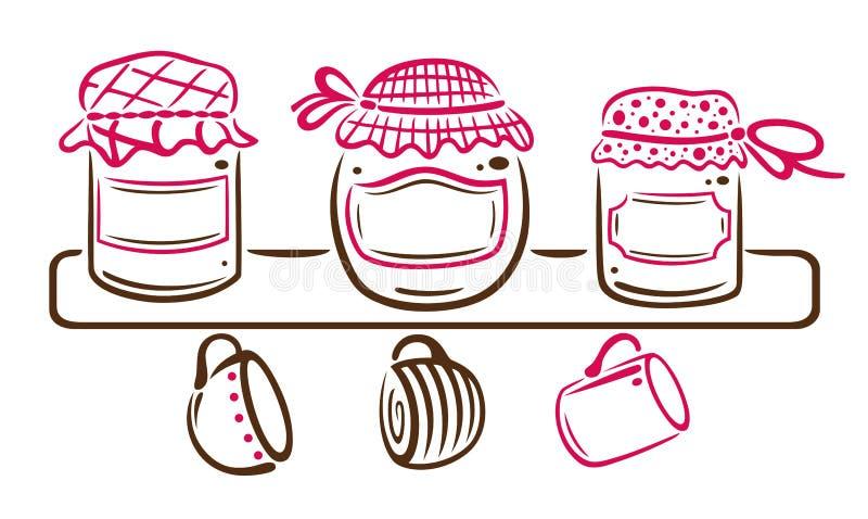 Jam jars vector illustration