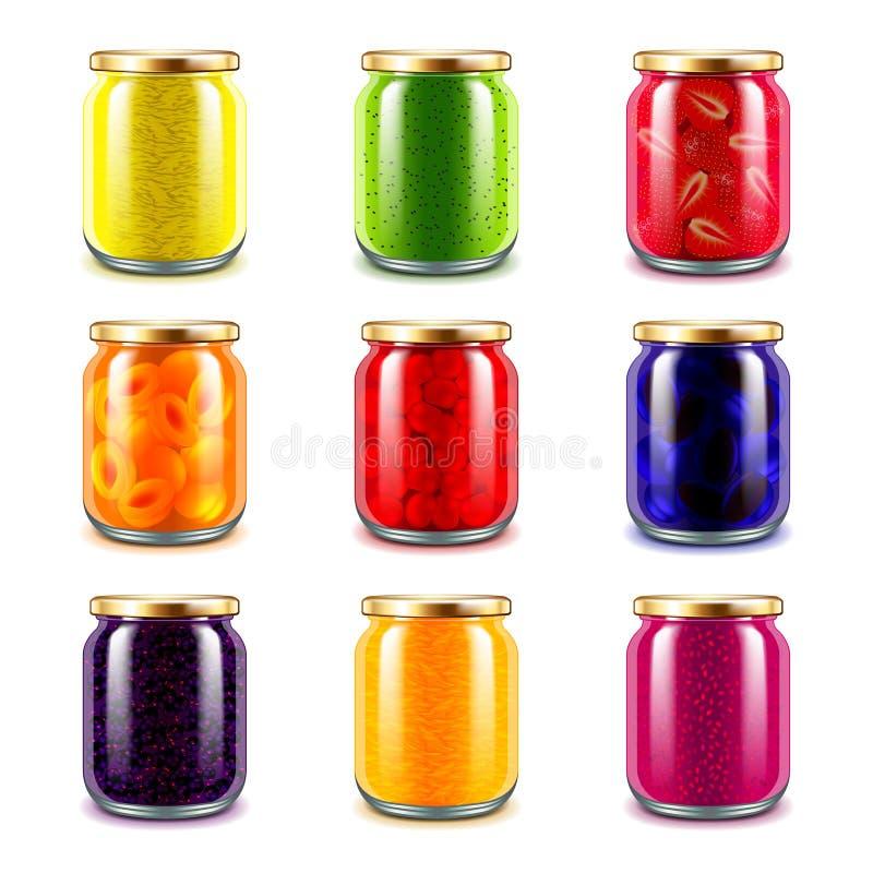 Jam jars icons vector set. Jam jars icons detailed photo realistic vector set royalty free illustration