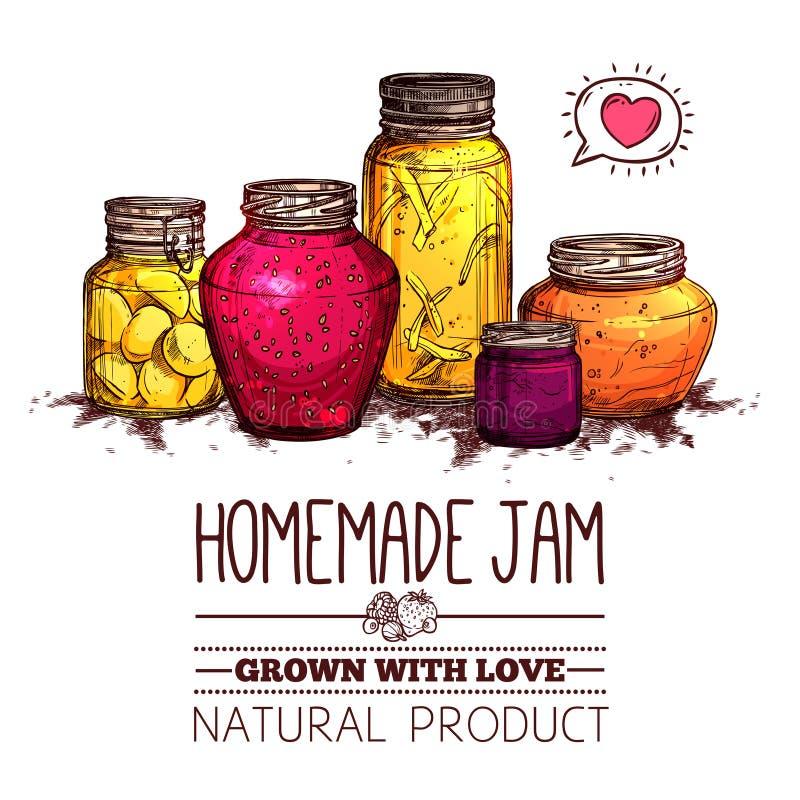 Jam Jars Poster stock illustration