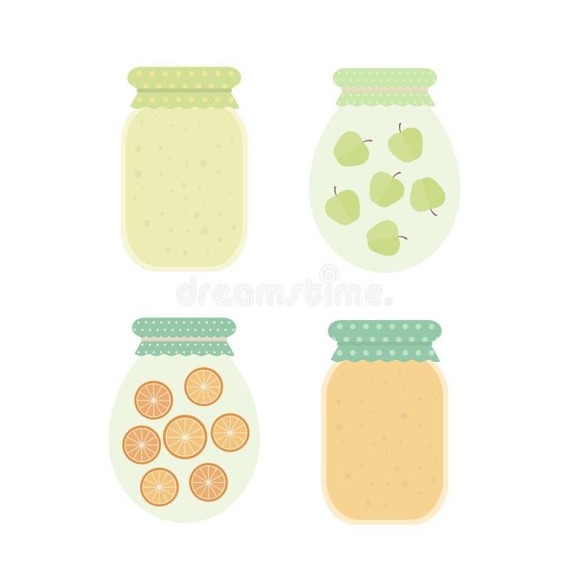 Jam in jars. Vector illustration. Homemade apple and orange jam in jar. Set of vector isolated elements for design vector illustration