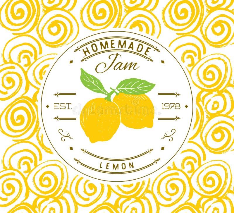 Jam label design template. for lemon dessert product with hand drawn sketched fruit and background. Doodle vector lemon illustrati. On brand identity vector illustration