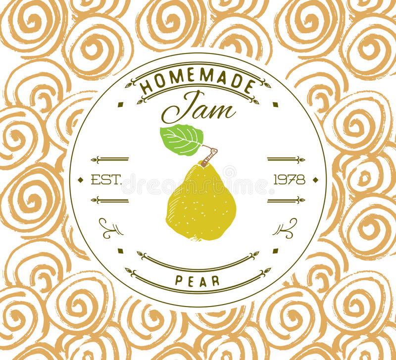 Jam label design template. for pear dessert product with hand drawn sketched fruit and background. Doodle vector pear illustration. Brand identity stock illustration