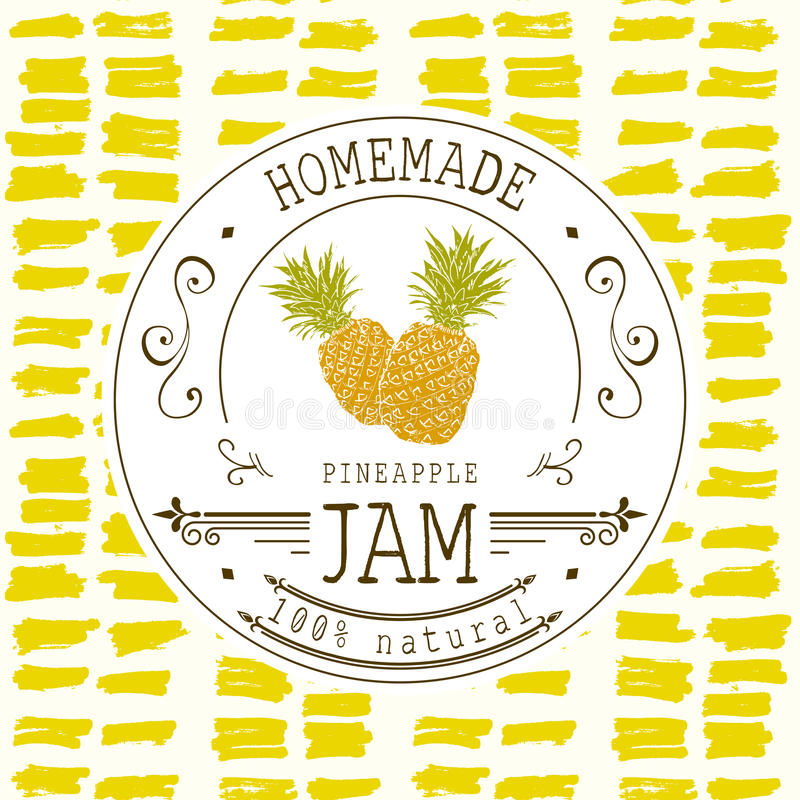 Jam label design template. for pineapple dessert product with hand drawn sketched fruit and background. Doodle vector pineapple il. Lustration brand identity stock illustration