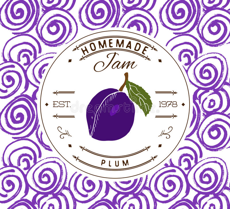 Jam label design template. for plum dessert product with hand drawn sketched fruit and background. Doodle vector plum illustration. Brand identity stock illustration