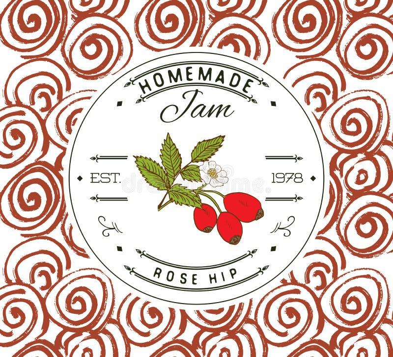 Jam label design template. for Rose hip dessert product with hand drawn sketched fruit and background. Doodle vector Rose hip illu. Stration brand identity stock illustration