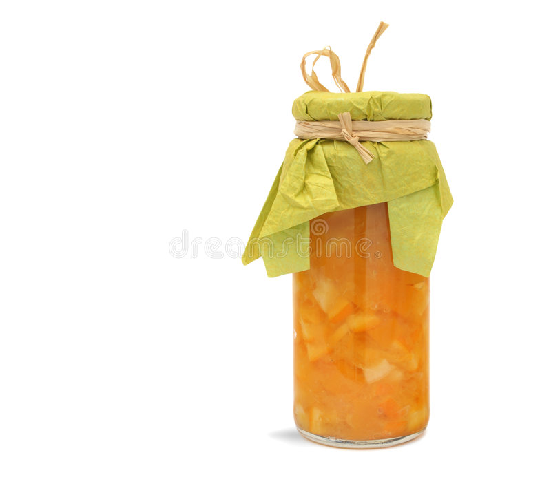 Jam Marmalade. Homemade orange jam, marmalade, isolated royalty free stock image