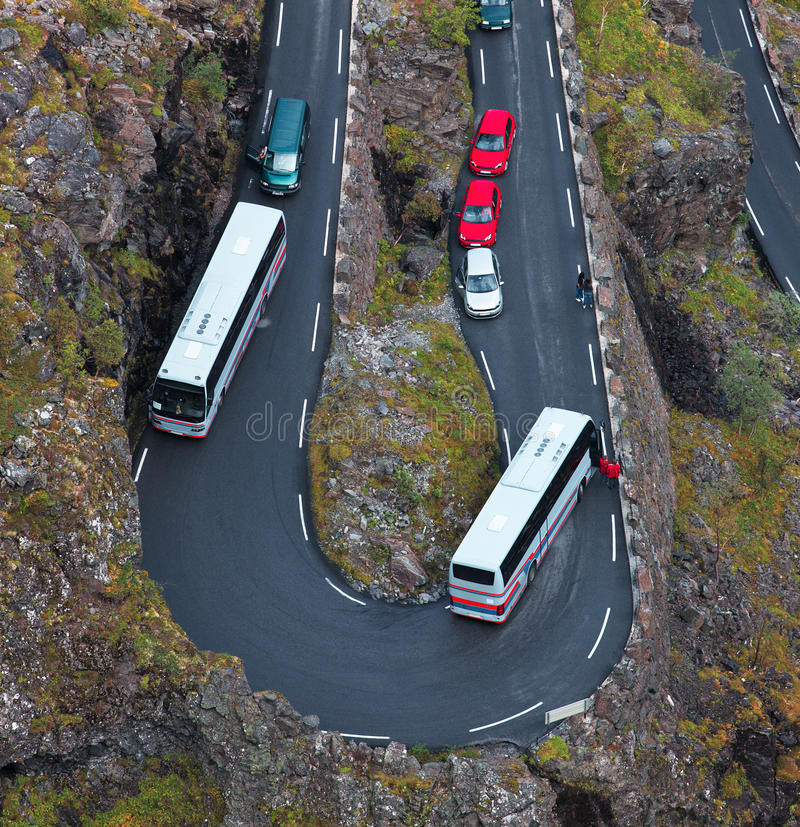 Download Jam on a mountain road stock image. Image of turn, serpentine - 26391069