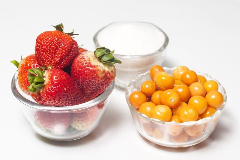 Jam preparation. Fruits and Sugar to prepare jam stock photo