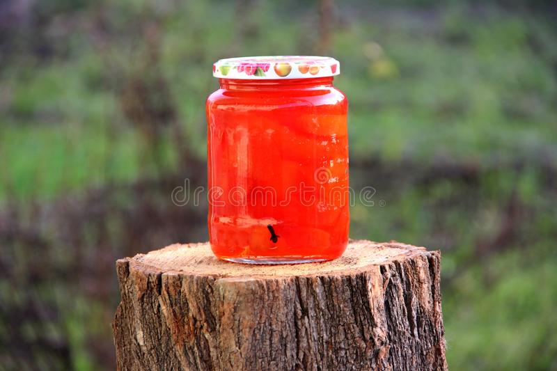 Jam Quince preserves cover jar stock photo