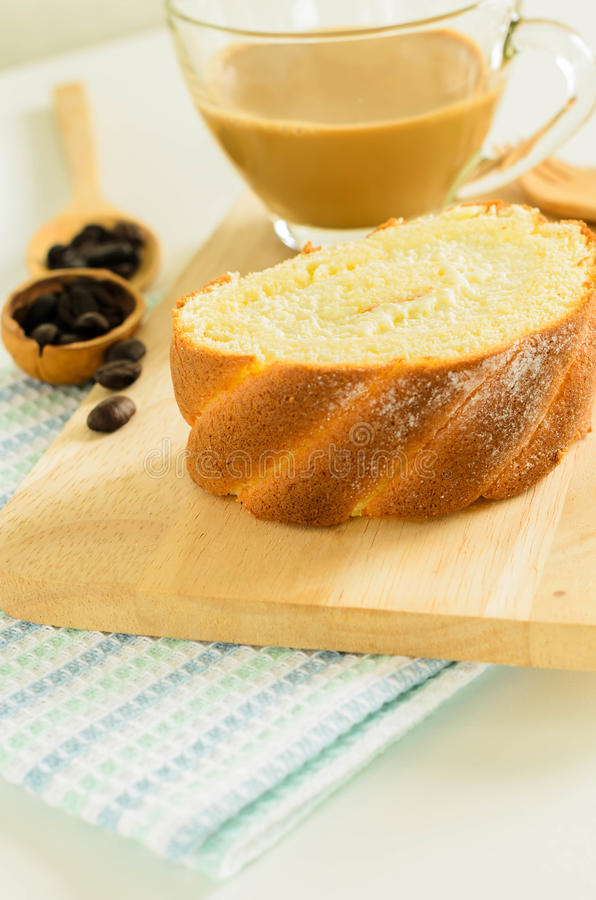 Jam Roll Cake. Slice Jam Roll Cake on Wood Plate stock image