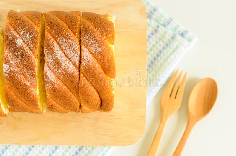Jam Roll Cake. Slice Jam Roll Cake on Wood Plate stock images