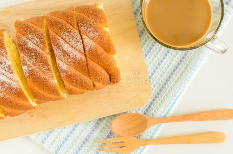 Jam Roll Cake. Slice Jam Roll Cake on Wood Plate stock photos