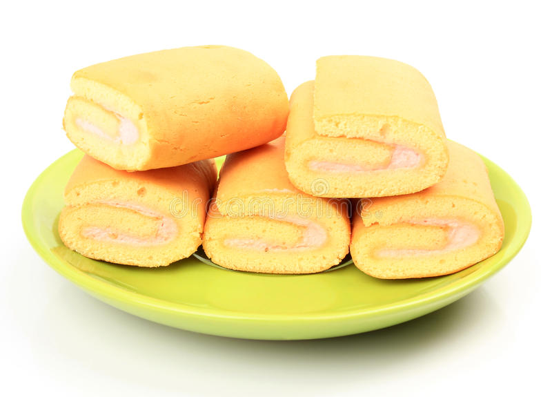 Jam roll cakes. Isolated on white background stock photos