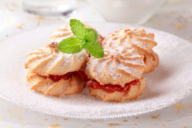 Jam sandwich cookies stock photography