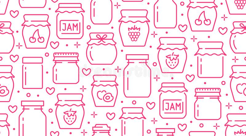Jam seamless pattern with vector thin line icons. Glass jars with honey, jelly and other canned organic food. Homemade vector illustration