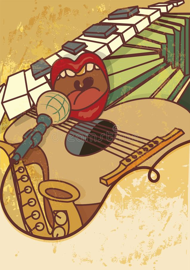 Jam session, jazz, blues music concert vector background flayer, retro style. Jam session, jazz, blues music concert vector background flayer, retro stock illustration