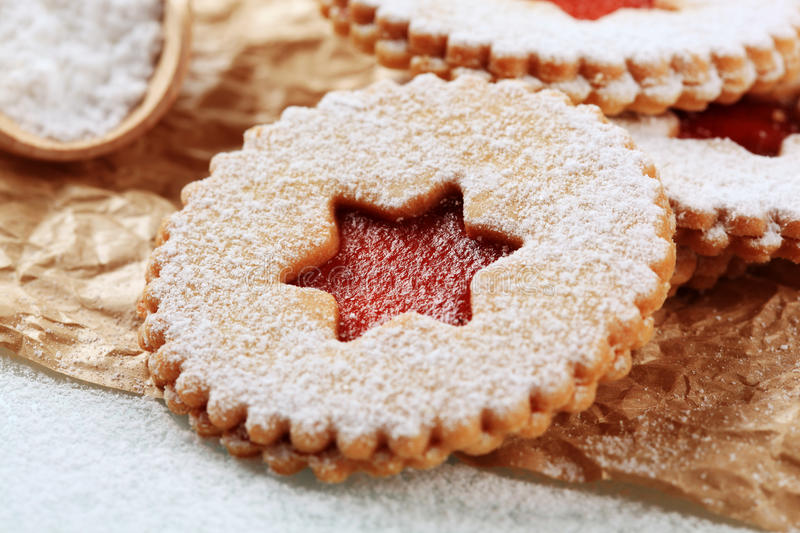 Jam shortbread cookies royalty free stock photography