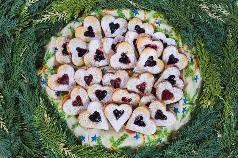 Jam shortbread cookies . royalty free stock images