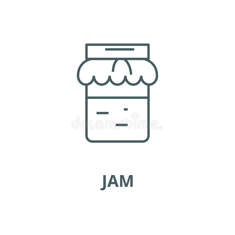 Jam vector line icon, linear concept, outline sign, symbol. Jam vector line icon, outline concept, linear sign vector illustration