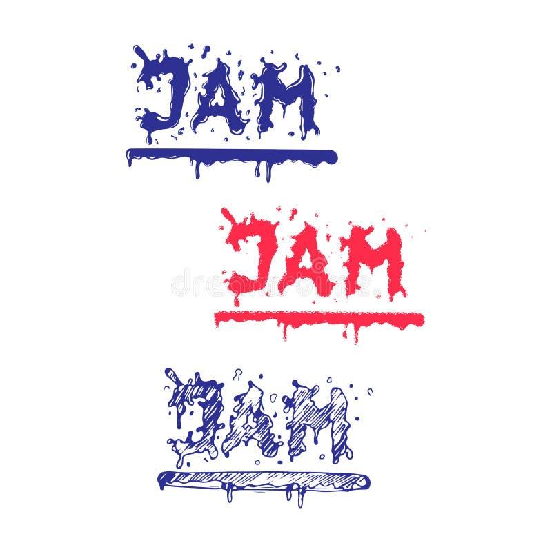Jam word flowing outside. Liquid Logo Element. Logotype style. Isolated on white background royalty free illustration