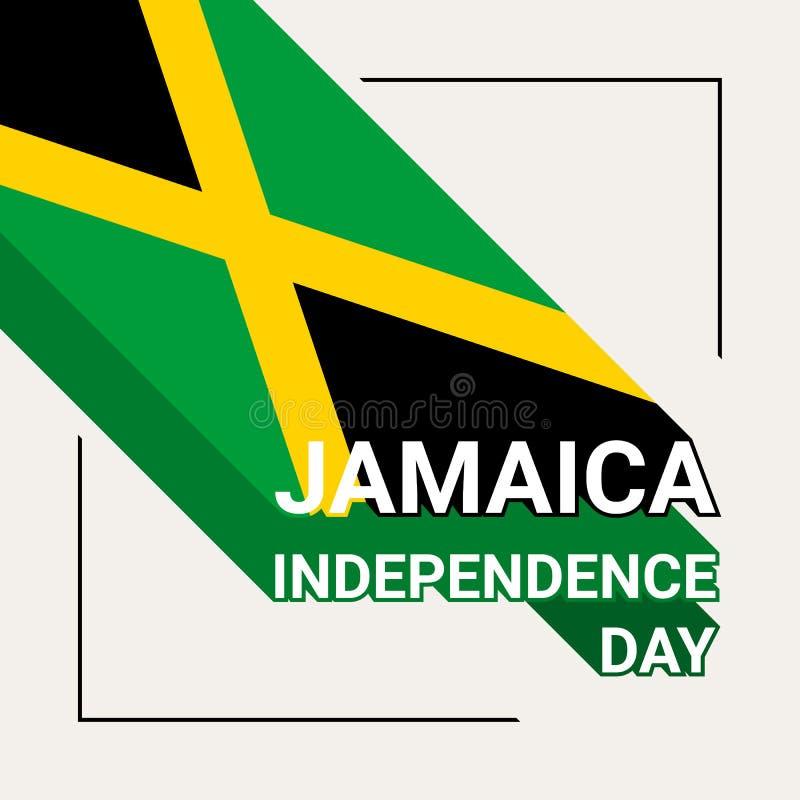 Jamaïca-de Groetkaart van de Onafhankelijkheidsdag met Vlag van Jamaïca vector illustratie