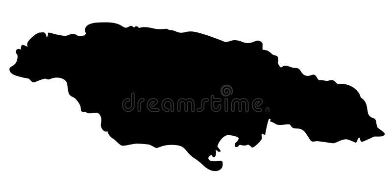 Jamaïca-de vectorillustratie van het kaartsilhouet royalty-vrije illustratie