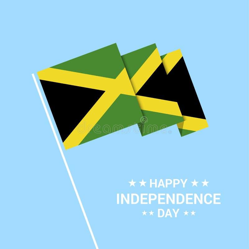 Jamaïca-het typografische ontwerp van de Onafhankelijkheidsdag met vlagvector royalty-vrije illustratie
