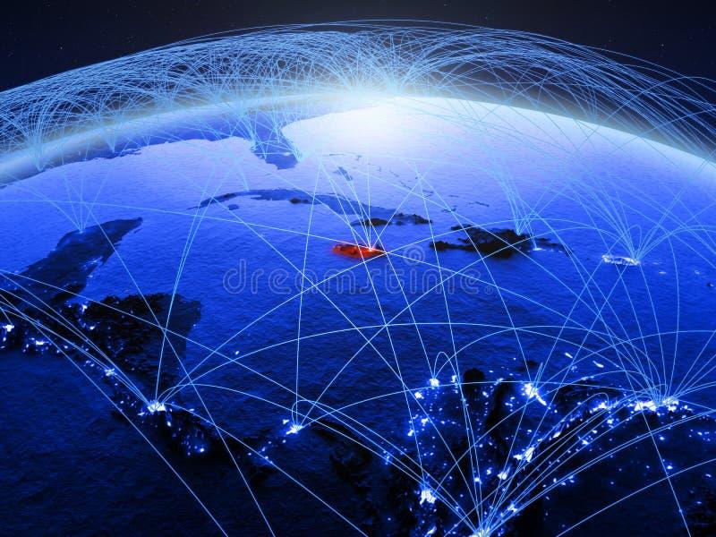 Jamaïca op blauwe digitale aarde met internationaal netwerk die mededeling, reis en verbindingen vertegenwoordigen 3d royalty-vrije stock afbeeldingen