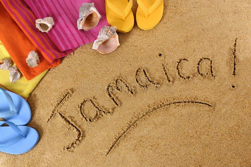 Jamaïca-strandachtergrond royalty-vrije stock fotografie