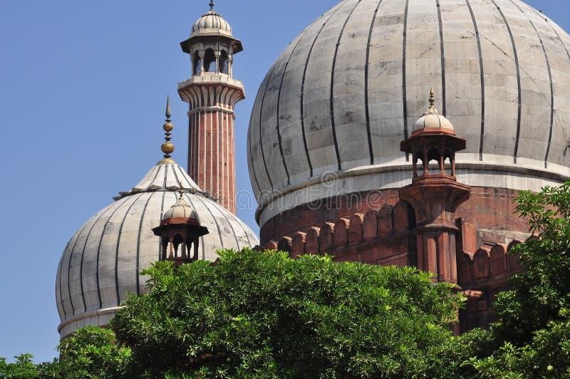 Jama Masjid, Νέο Δελχί, Ινδία αρχιτεκτονική στέγη λεπτομέρειας οικοδόμησης στοκ φωτογραφία
