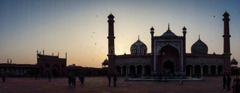 Jama Masjid is de belangrijkste moskee van Oud Delhi in India royalty-vrije stock foto