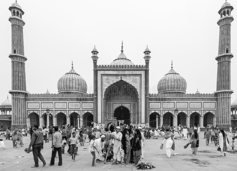 Jama-masjid i gamla Delhi i Indien royaltyfri bild